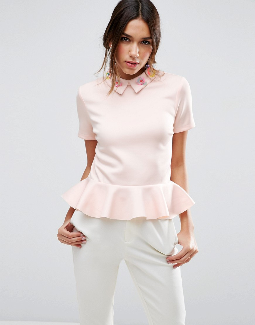 Top with Encrusted Collar and Pephem