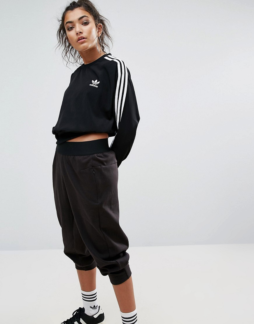 adidas Originals Black Three Stripe Cropped Chiffon Sweatshirt