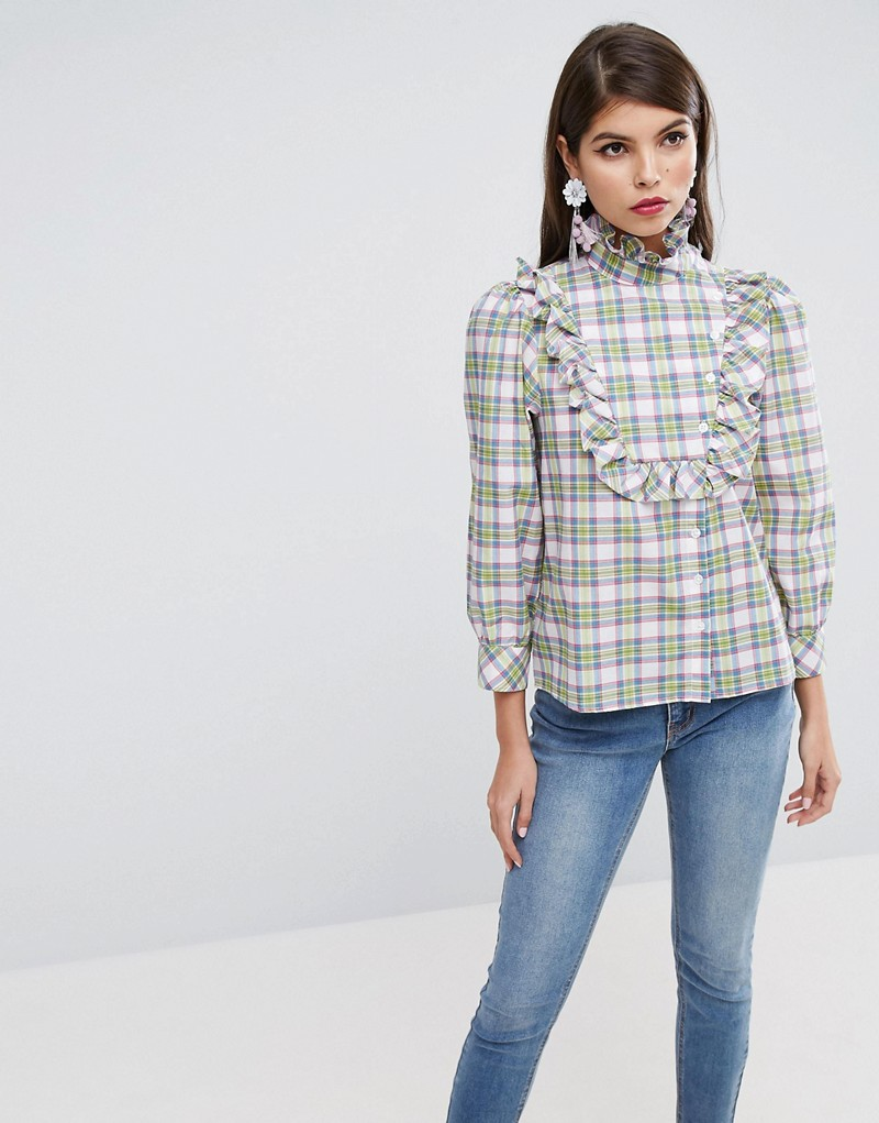 Check Shirt with Ruffle Bib Detail