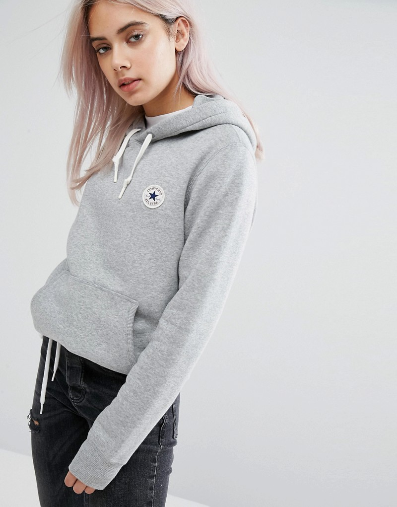 Converse Hoodie With Chuck Patch In Grey