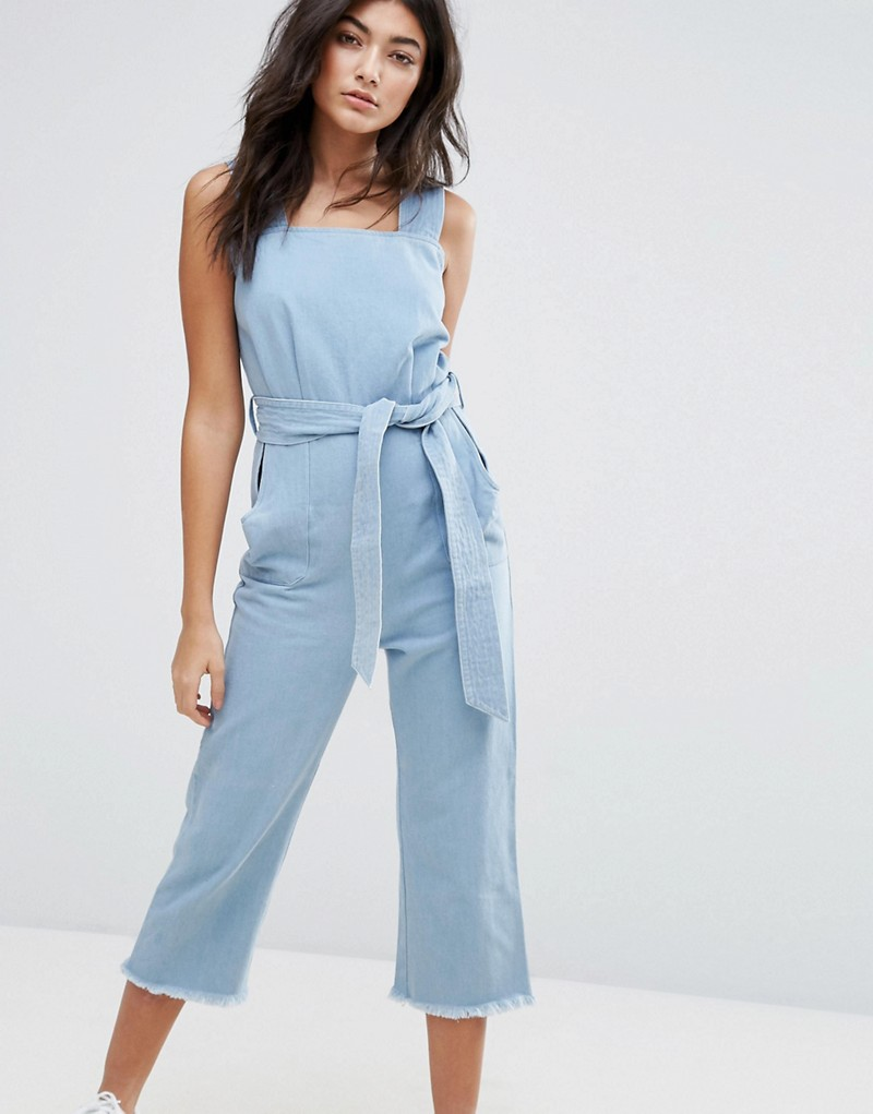 Liquor & Poker Wide Leg Raw Hem Dungaree with Tie Waist