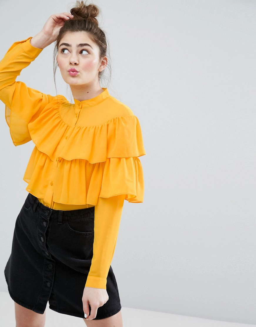 Monki Ruffle Tiered Shirt