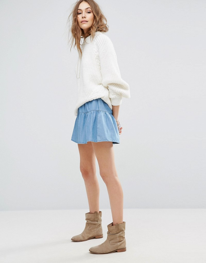 Vero Moda Ruffle Denim Mini Skirt