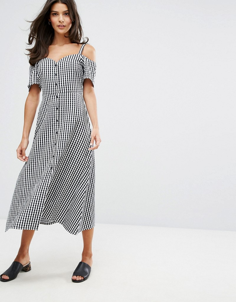 Warehouse Cold Shoulder Gingham Midi Dress