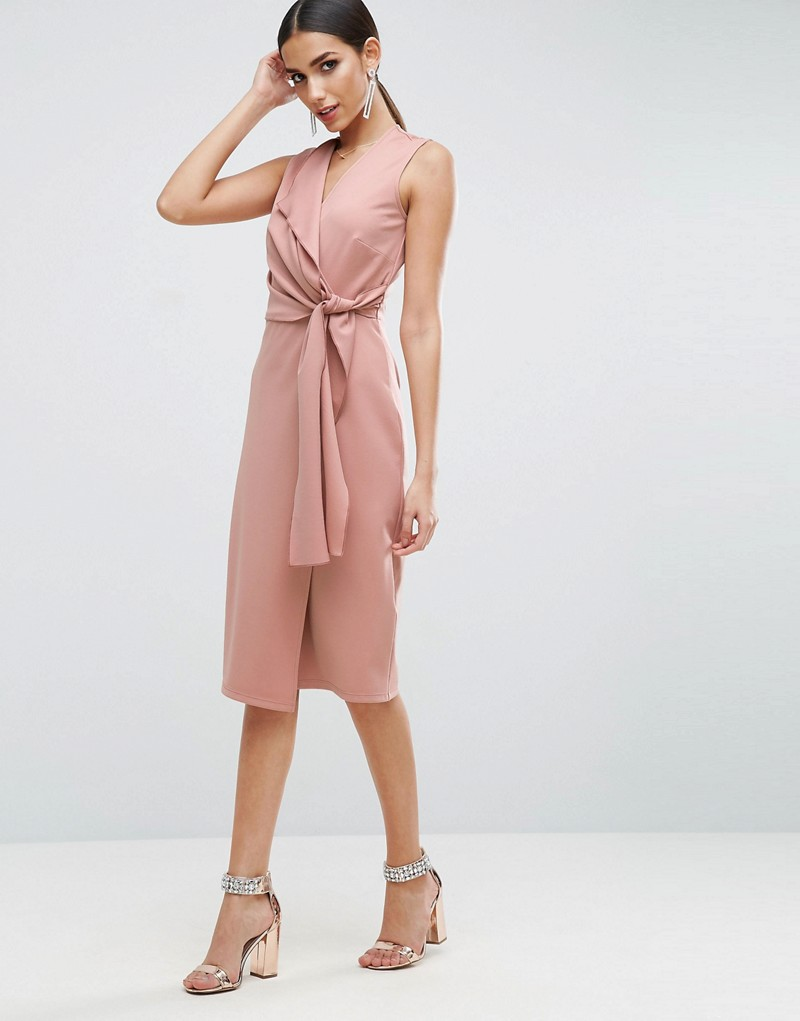 Wrap Front Pencil Dress with Tie Detail